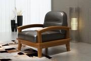 Woody Land Chinese Style Black Leather Single Sofa