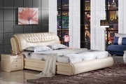 1.8m modern style real leather bed